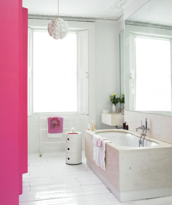 badezimmer rosa textilien hängelampe designer weiß