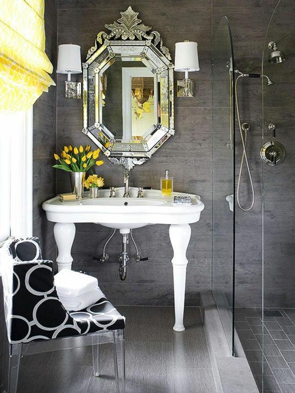 Badideen für kleines Bad luxus schwarz