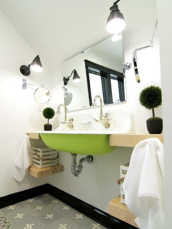 Badideen für kleines Bad originell grün waschbecken