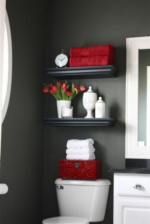 Badideen für kleines Bad rote motive