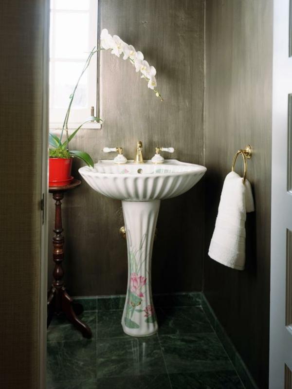 Badideen für kleines Bad waschbecken schwarz