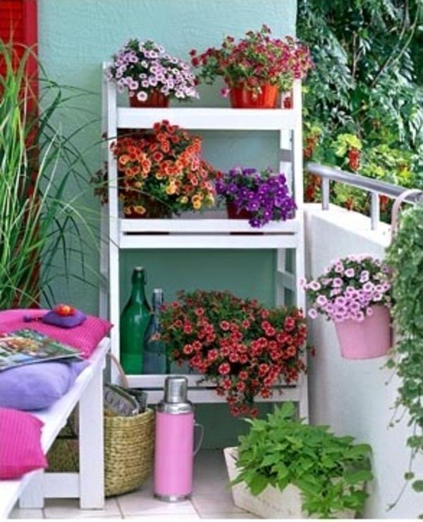Balkonbepflanzung pflanzenarten Ideen ständer