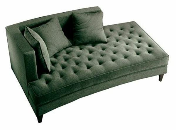 Chaiselongue sofa möbel grün mit knöpfen