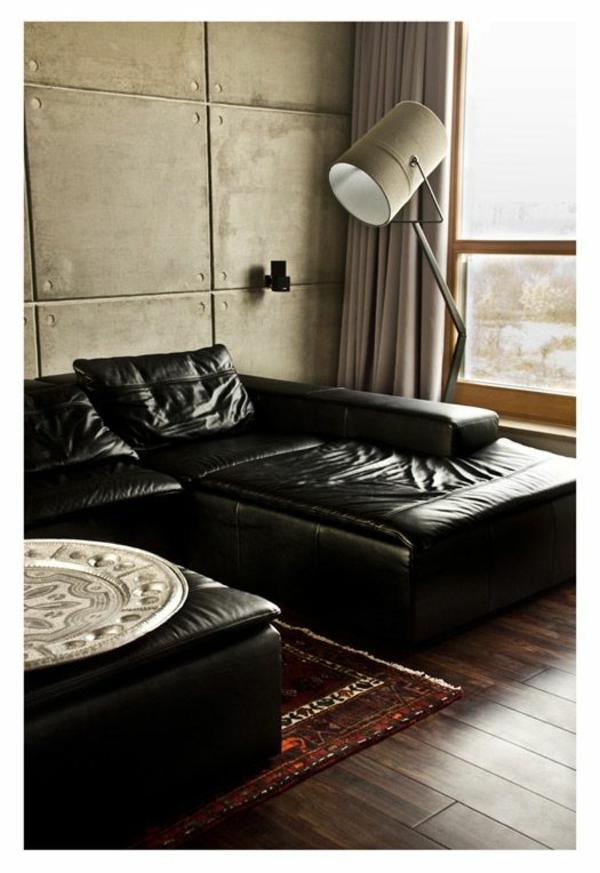 Chaiselongue sofa tolle möbel leder schwarz