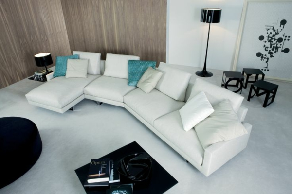 Chaiselongue sofa weiß design dekokissen