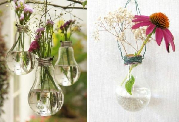 DIY Deko Glühbirnen gartenblumen