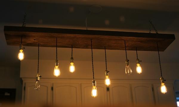 DIY Deko Glühbirnen holz hängend lampen