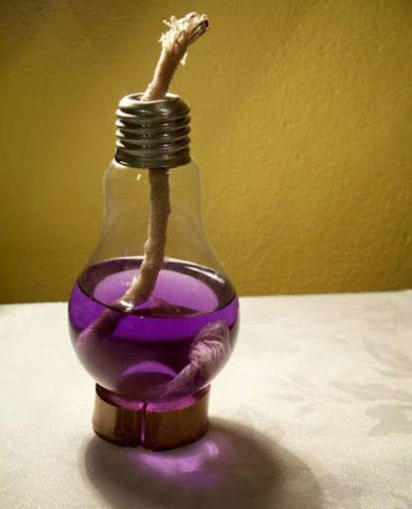 DIY Deko seil Glühbirnen lila flüssigkeit