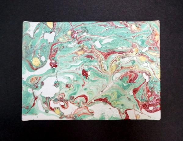DIY Marmor Dekoartikel grün rot gelb muster