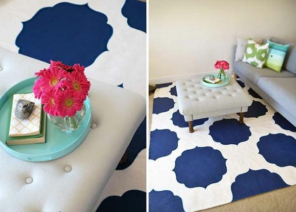 DIY Teppiche und Fußmatten blau weiß
