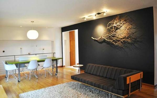 Deko bodenbelag holz Treibholz kunst schwarz wandgestaltung