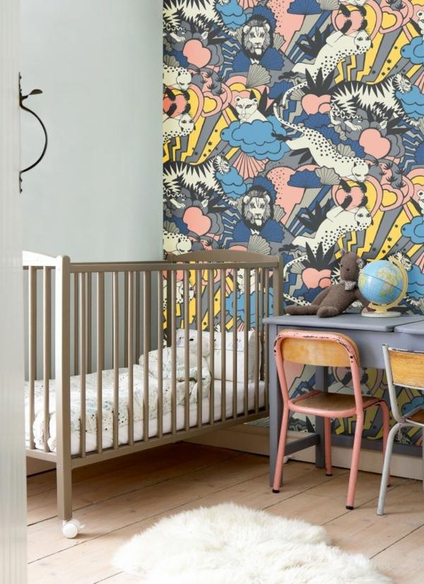 Dschungel industriell Kindertapete Kinderzimmer gestalten babybett schreibtisch