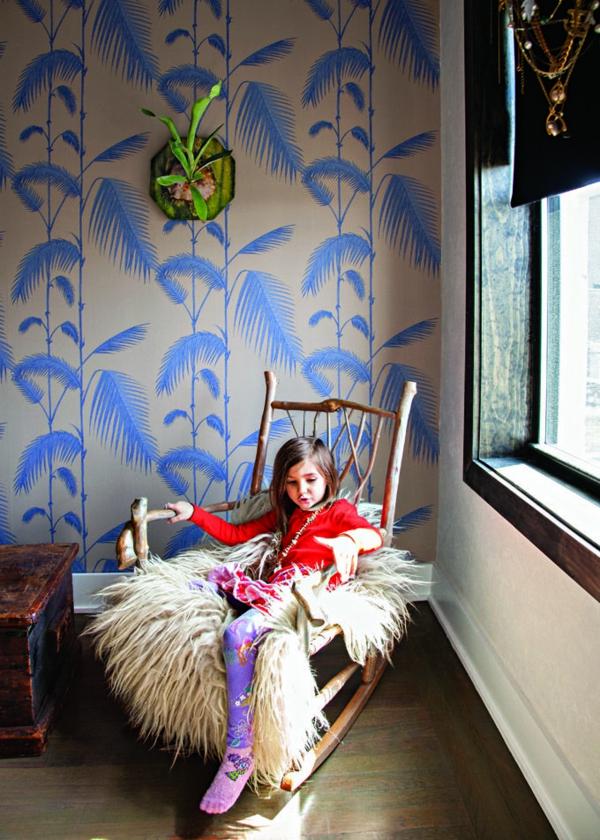 Dschungel Kindertapete Kinderzimmer gestalten blau muster
