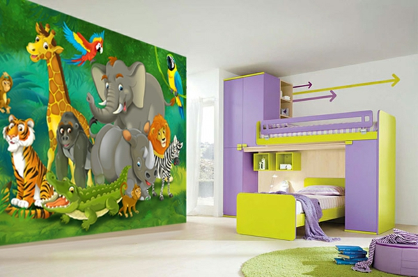 dschungel kindertapete kinderzimmer gestalten. Black Bedroom Furniture Sets. Home Design Ideas