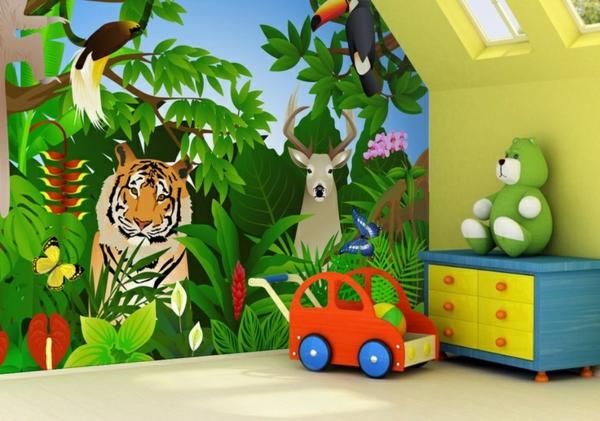 Dschungel kommode Kindertapete Kinderzimmer gestalten kommode