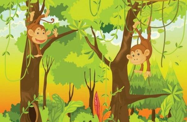 Dschungel-Kindertapete-Kinderzimmer-gestalten-leuchten