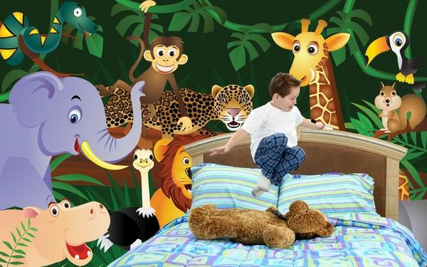 Dschungel sticker regale sticker Kindertapete Kinderzimmer gestalten hell