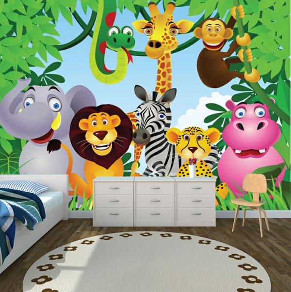 Dschungel Kindertapete Kinderzimmer gestalten teppich rund