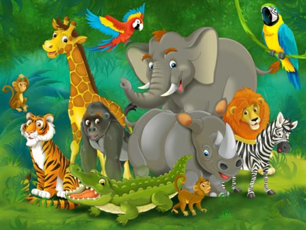 Kinderzimmer Tapete Dschungel : Kindertapete Kinderzimmer gestalten Dschungel tiere savanne