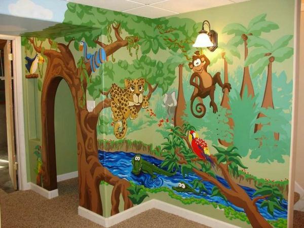 Kinderzimmer wandgestaltung tiere  Dschungel Kindertapete - Kinderzimmer gestalten