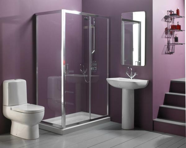 lila wandgestaltung wc waschbecken duschkabine wandspiegel treppe