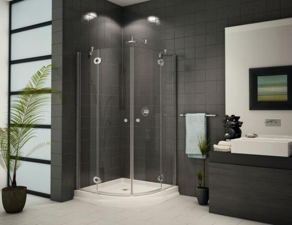 duschkabinen komplett komplettduschen schwarz fliesen