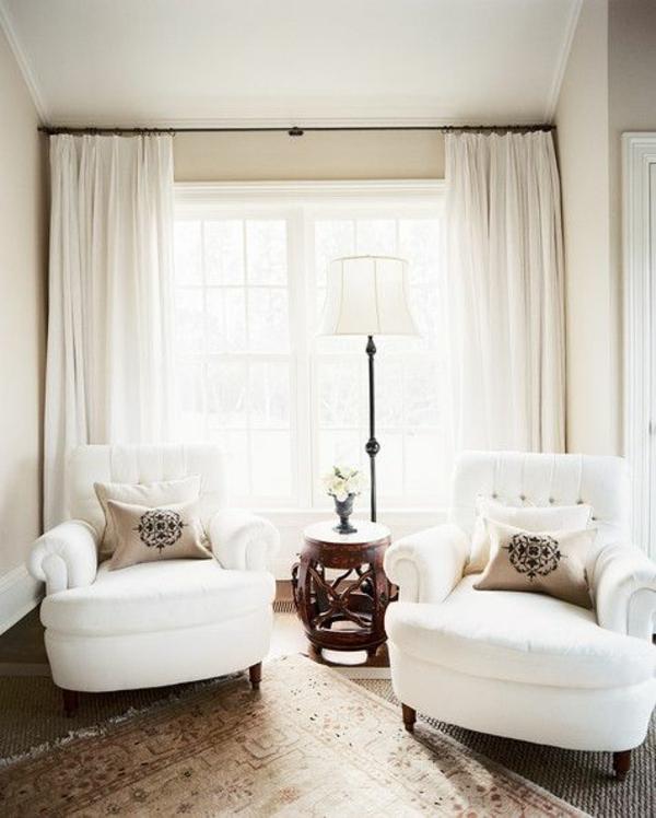 gemütlich raum Gardinenideen vorhänge fenster modern designe weiß ...