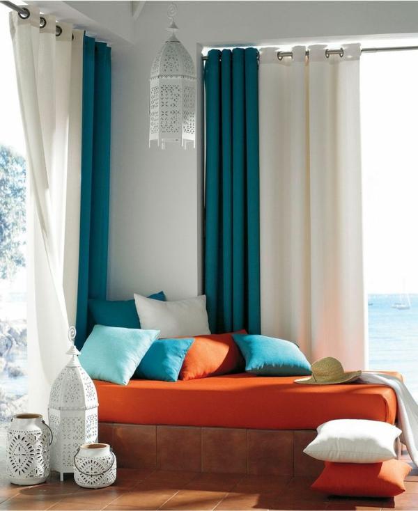Gardinenideen vorhänge fenster modern designer auflagen orange