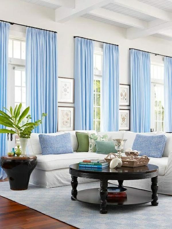 Gardinenideen vorhänge fenster modern designer blau couchtisch