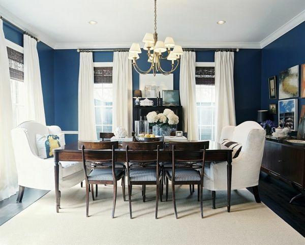 Gardinenideen vorhänge fenster modern designer blau wände
