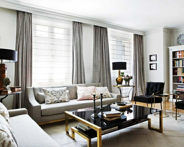 ▷ 1001+ moderne gardinenideen - praktische fenstergestaltung - Vorhange Wohnzimmer Grau