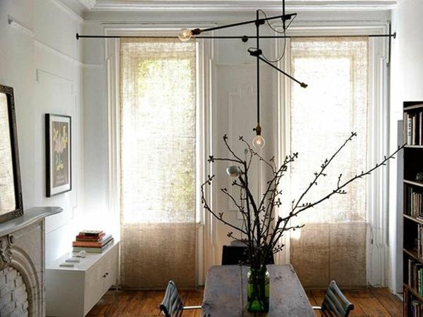 moderne Gardinenideen vorhänge designer lampen