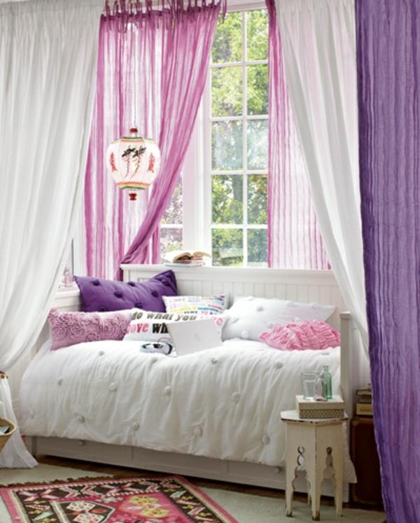 moderne Gardinenideen vorhänge fenster designer lila rosa