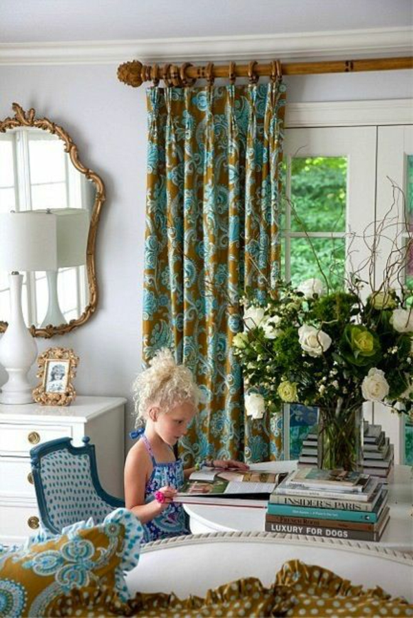 moderne Gardinenideen vorhänge fenster designer natur muster