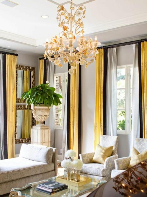 moderne Gardinenideen vorhänge fenster orange hängelampe