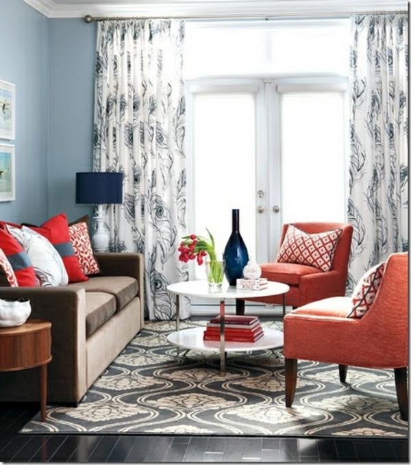 moderne Gardinenideen vorhänge fenster designer orange