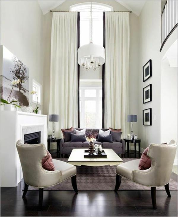 moderne Gardinenideen vorhänge fenster designer pendelleuchten