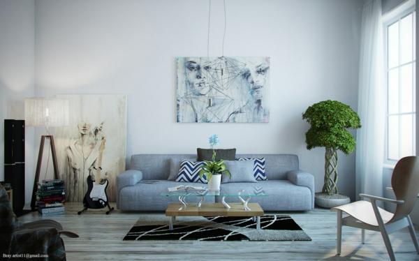 Grünpflanzen Bilder favorite wohnzimmer sofa grau