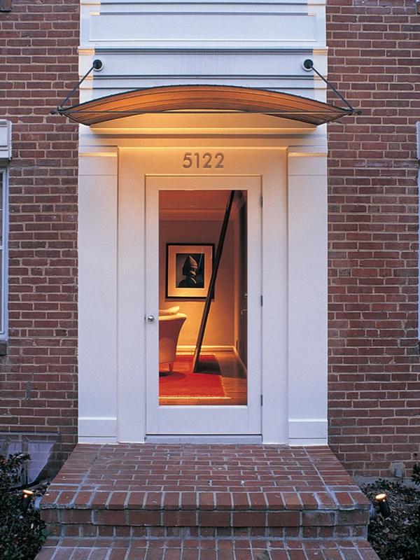 Moderne Au Enbeleuchtung hausvordächer haustürüberdachung und vordächer aus glas und holz