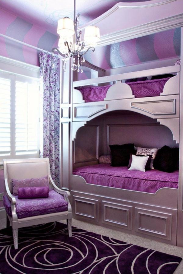 Kinderzimmer mädchen lila  Hochbett im Kinderzimmer - 100 coole Etagenbetten für Kinder