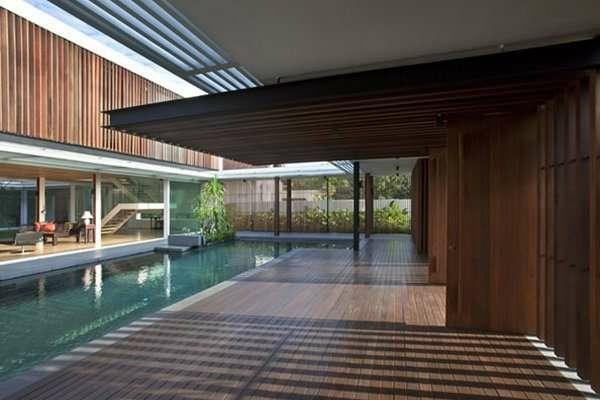Holz bungalow pool Fertighaus Holz und Blockhäuser bodenbelag