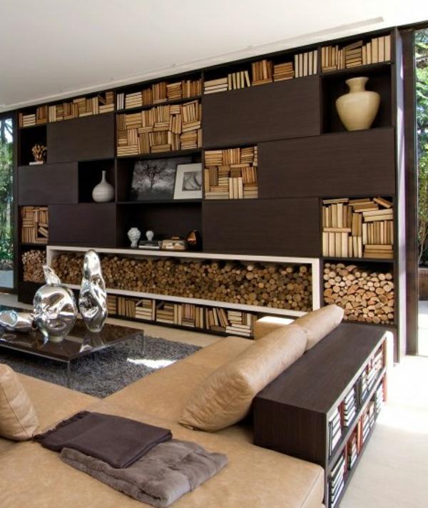 Holzbungalow wohnzimmer wand Fertighaus Holz und Blockhäuser braun