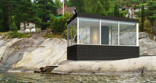 bungalow Fertighaus Holz und Blockhäuser glas