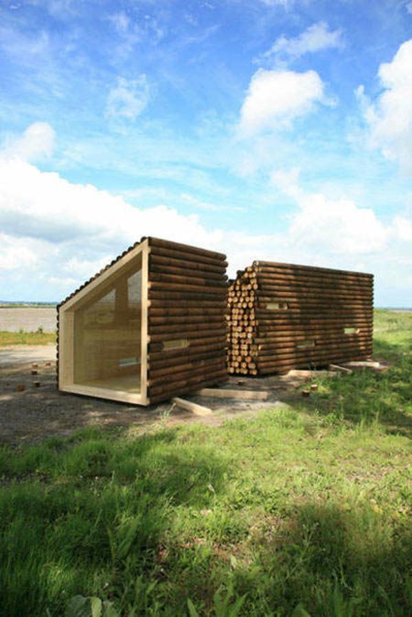 Holz bungalow Fertighaus Holz und Blockhäuser gras