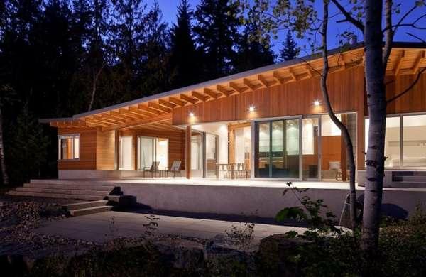 Fertighaus Holz und Blockhäuser nachts Holzbungalow