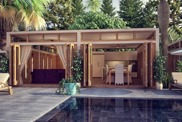 Holzbungalow Holz und Blockhäuser Fertighaus pool