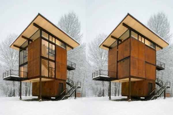Holzbungalow fertighaus 50 hochmoderne holz und blockh user - The shutter clad house ...