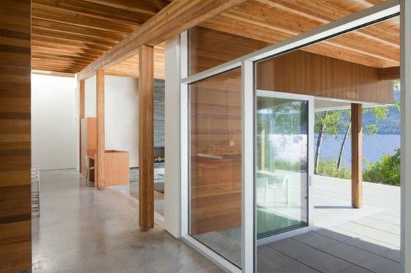 Holzbungalow Fertighaus Holz und Blockhäuser schiebetüren