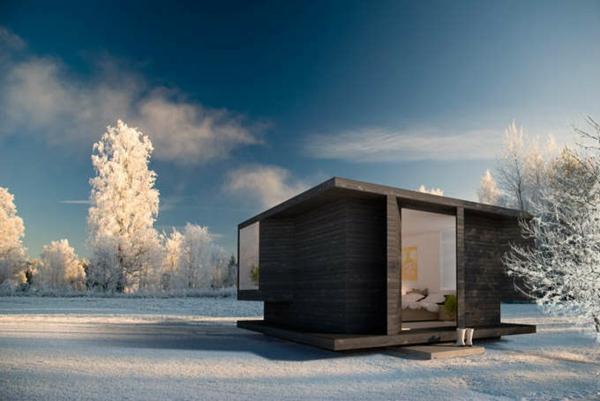 Holzbungalow Fertighaus Holz und Blockhäuser winter