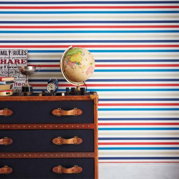 Kinderzimmer tapeten bett deko weich streifen rot weiß